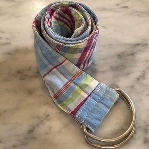 Madras blue D-ring belt